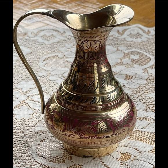Polished brass pitcher w/color, vintage